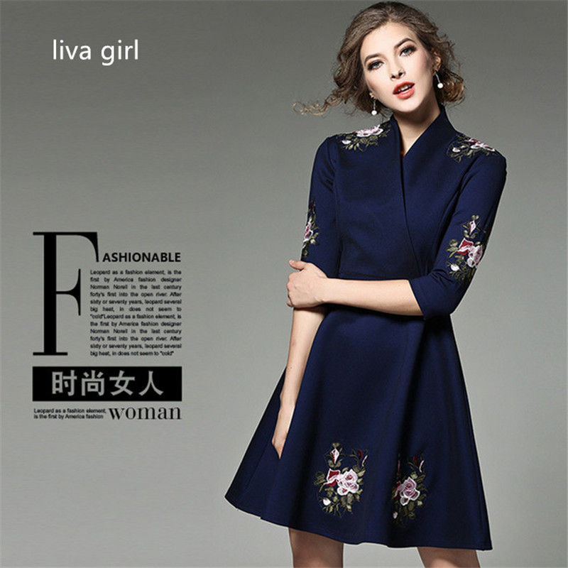 Milan Paris Designers Dress 2017 winter Womens Top Luxury Sequins Embroidery Collar Exclusive Short embroidered thick Dress