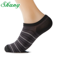 BAMBOO WATER SHANG Men Bamboo Fiber Sock Slippers breathable socks Stripe Male socks Size 39-44 5pairs/lot LQ-7