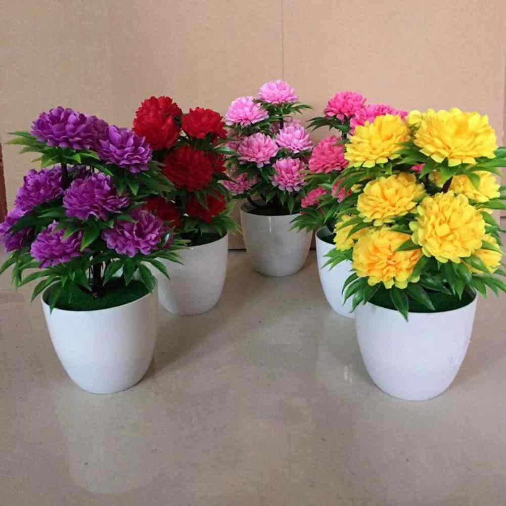 1Pc Artificial Chrysanthemum Bonsai Potted Plant Landscape Home Floral Decor Supply