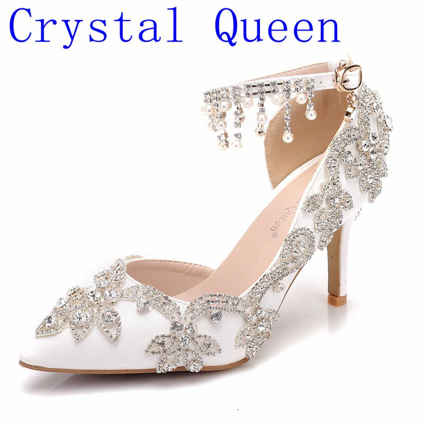 Crystal Queen Shoes Women Fashion Wedding Pumps Sweet White Flower Pearl Lace Crystal Pointed Toe High