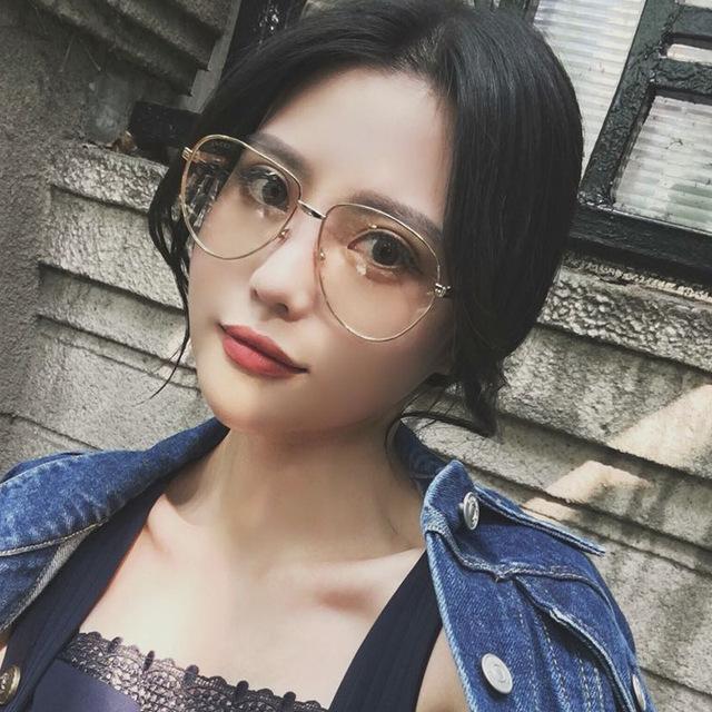 Alta Qualidade Retro Armações De Óculos De Ouro Das Mulheres Do Vintage Da Marca De Óculos Frame Ótico Óculos de Lentes de Prescrição Clara Transparente