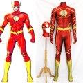 Alta calidad cosplay traje comic hero flash flash spandex traje de impresión 3d flash cosplay amarillo por encargo