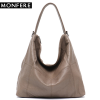 MONFERE Genuine Leather Luxury Brand Large Shoulder Bags for Women Soft Casual Single Strap Cowhide Pattern Totes Crossbody Bag