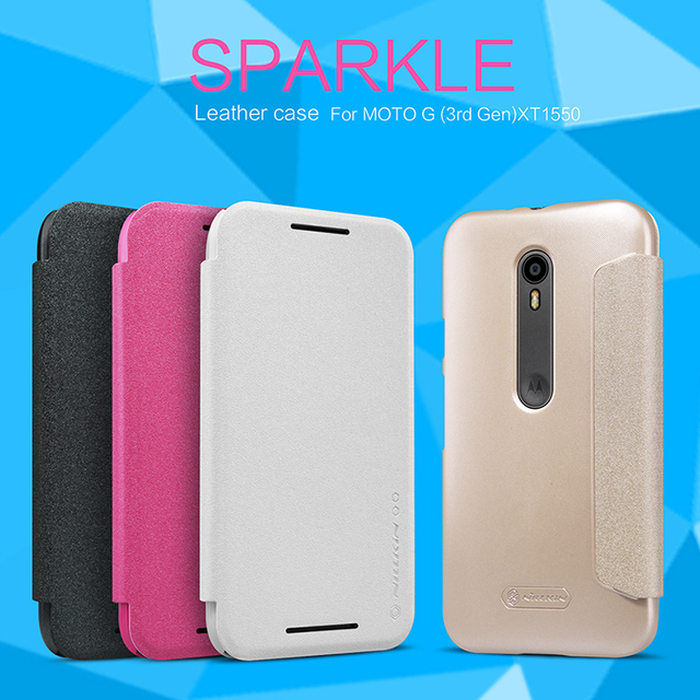 huge discount 397fb 69748 US $7.45 |Genuine NILLKIN Sparkle Series Flip Case Back Cover For Motorola  Moto G3 Moto G Gen 3 XT1548 XT1541 XT1540 XT1550 XT1544 + Film on ...