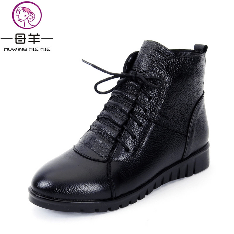 MUYANG MIE MIE Plus Size(35-43) Winter Women Shoes Woman Genuine Leather Flat Ankle Boots Female Lace-up Snow Boots Women Boots 2017 new fashion genuine leather snow boots female winter platform ankle boots women zipper lace up boots