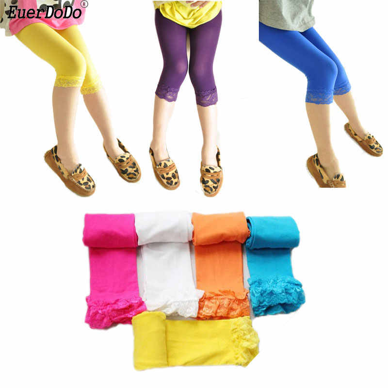 eb4fdc66139e4 Summer Lace Leggings For Girls Colored Girl Capris Designer Kids Pants Baby  Trousers Clothing