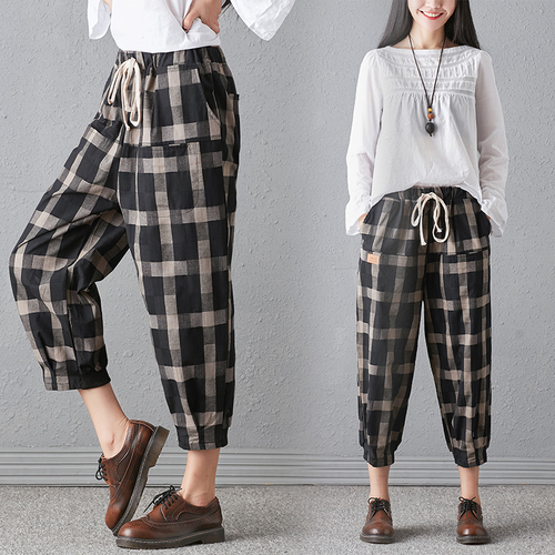 New 2018 Spring And Autumn Artistic Vintage Trousers Women Harlan Pants Woman Pants Loose Linen Pants For Women Plus Size Women 2