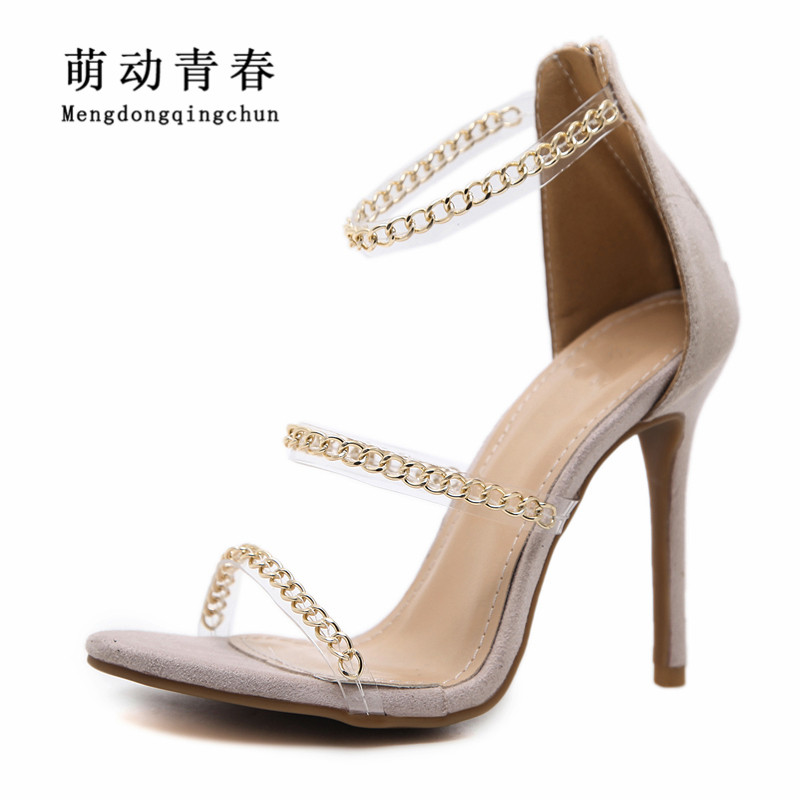 2018 Women High Heels Shoes Gladiator Thin Heels Ankle Strap Party Shoes Fashion Peep Toe Chain Narrow Band Summer Women Pumps 2018new style summer high heels peep toe pumps fashion ankle strap club party shoes woman sexy peep toe platform shoe women