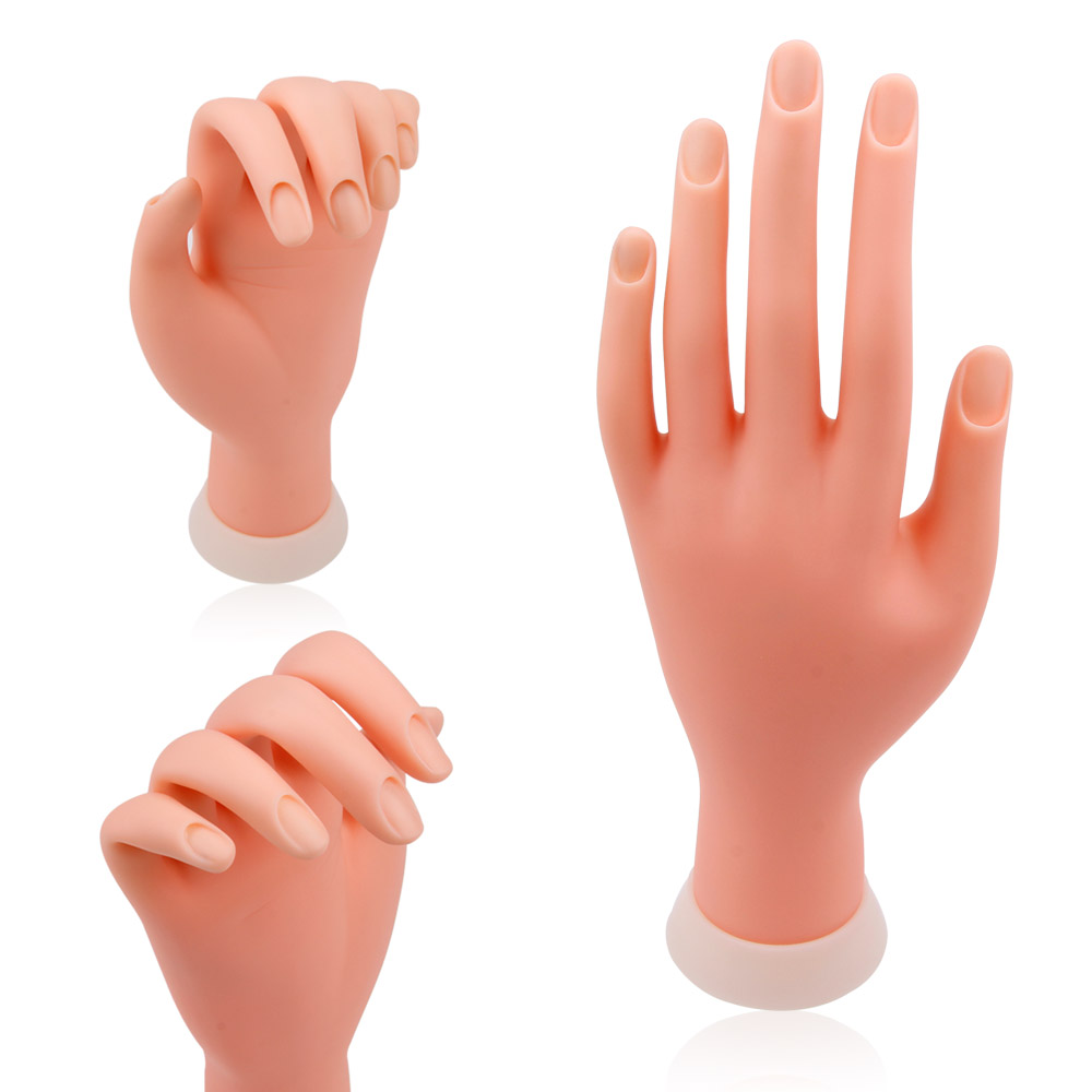 Nail Practice Hand Model Flexible Movable Silicone Prosthetic Soft Fake Hands For Nail Art Training Display Model Manicure Tool