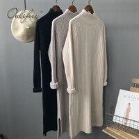 Ordifree 2017 Autumn Winter Women Knitted Dress Knitwear Long Pullover Knee Length Black Soft Warm Turtleneck Sweater Dress