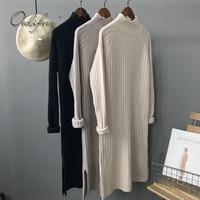 Ordifree 2019 Autumn Winter Women Knitted Dress Knitwear Long Pullover Knee Length Black Soft Warm Turtleneck Sweater Dress