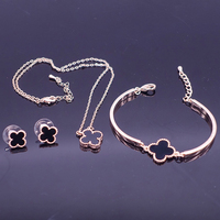 Fashion Romantic Lucky Clover Jewelry Set For Women Girl Elegant Rose Gold Necklace Earrings Bracelet Birthday