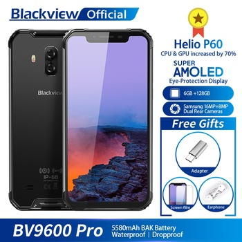 Blackview BV9600 Pro IP68 Waterproof Mobile Phone Helio P60 6GB+128GB 6.21 19:9 FHD AMOLED 5580mAh Android 8.1 Smartphone NFC iphone 6