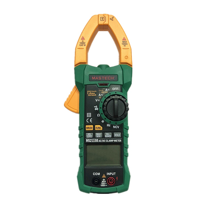 MASTECH MS2115B Digital AC DC Clamp Meter with 6000 Counts NCV True RMS AC DC Voltage