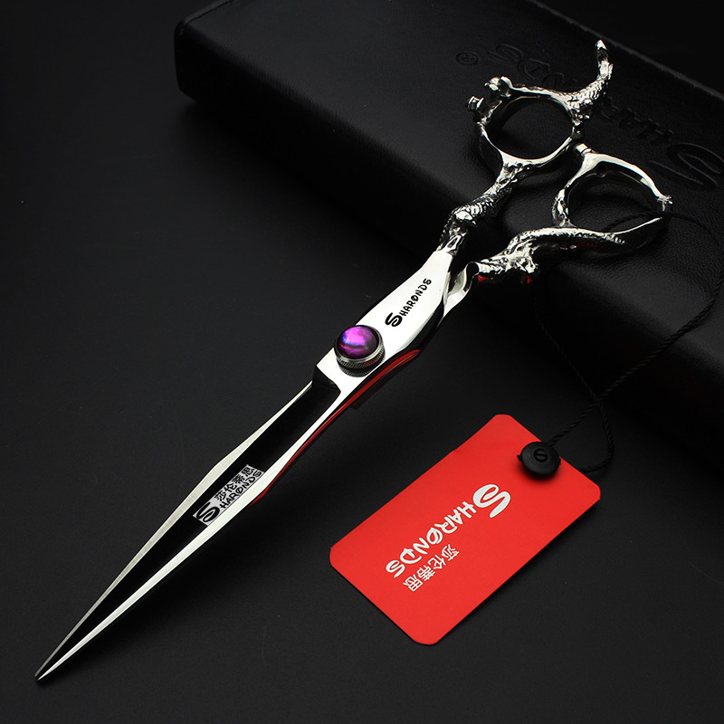 Купить с кэшбэком 7 inch / 8 inch Japan hair scissors purple gem dragon scissors hair salon high quality barber scissors made of 440c steel makas