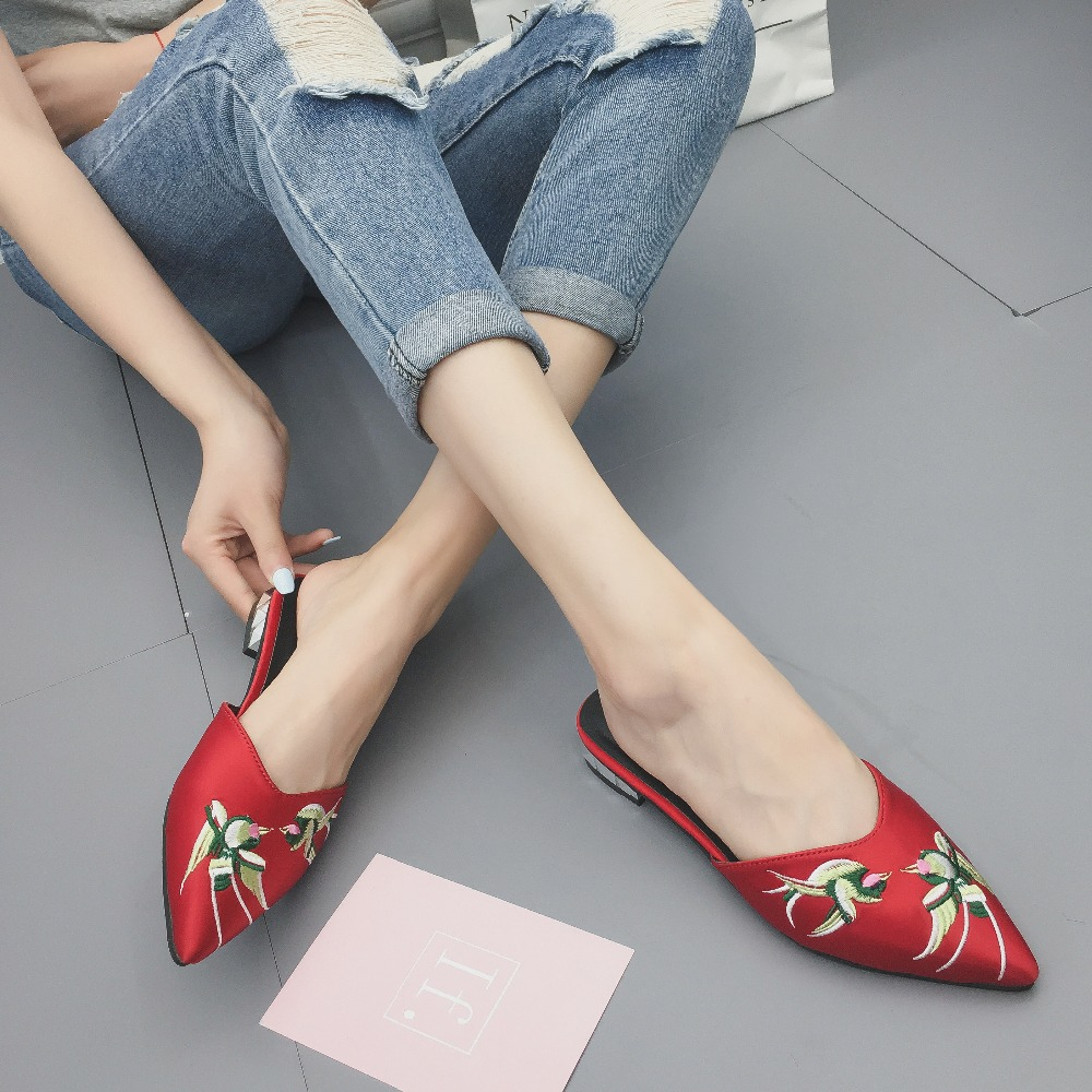 Ladies Embroidered Slippers Pointed Tips Female Summer Fashion Outside Slippers Outdoor Low Heels Women Shoes C0606 in Slippers from Shoes