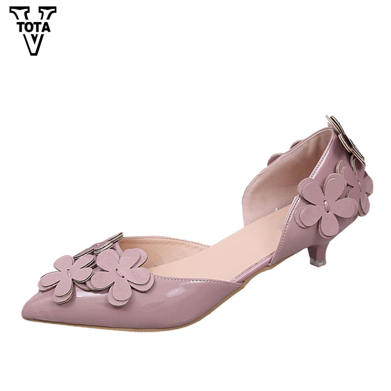 VTOTA Spring Autumn Women Pumps Fashion Shoes Woman Flower Party Shoes Pointed Toe Women's Shoes Wedges Pumps Zapatos Mujer HPL  choudory high heels woman pumps spring autumn flower decoration woman shoes attractive flock pointed toe party zapatos mujer