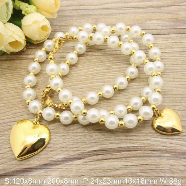 Stainless Steel Pearl  Vintage Jewelry Sets Imitation Pearl Silver Color Bracelet +Necklace set Supernova Sales SBJDLVCC