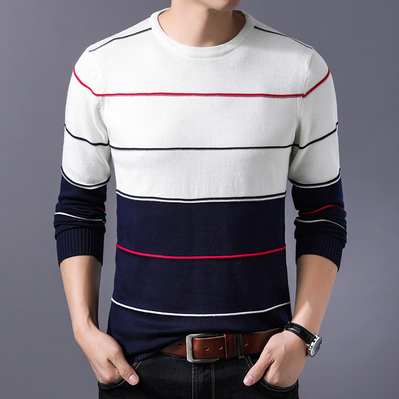 2019 Fashion Casual Computer Knitted O-neck Pullovers Men Patch Work Mens Striped Sweater Four Color Men's Sweater