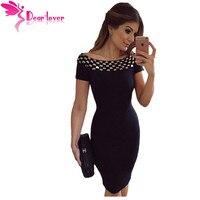 Dear Lover Office Dresses New Stylish Sexy Party Little Black Vestidos Studded Off Shoulder Short Sleeve