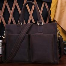 Genuine Leather Man Fashion Briefcase Crazy Horse Leather Vintage Shoulder Bag Travel Handbag Luxury Brand Laptop Bag 9096
