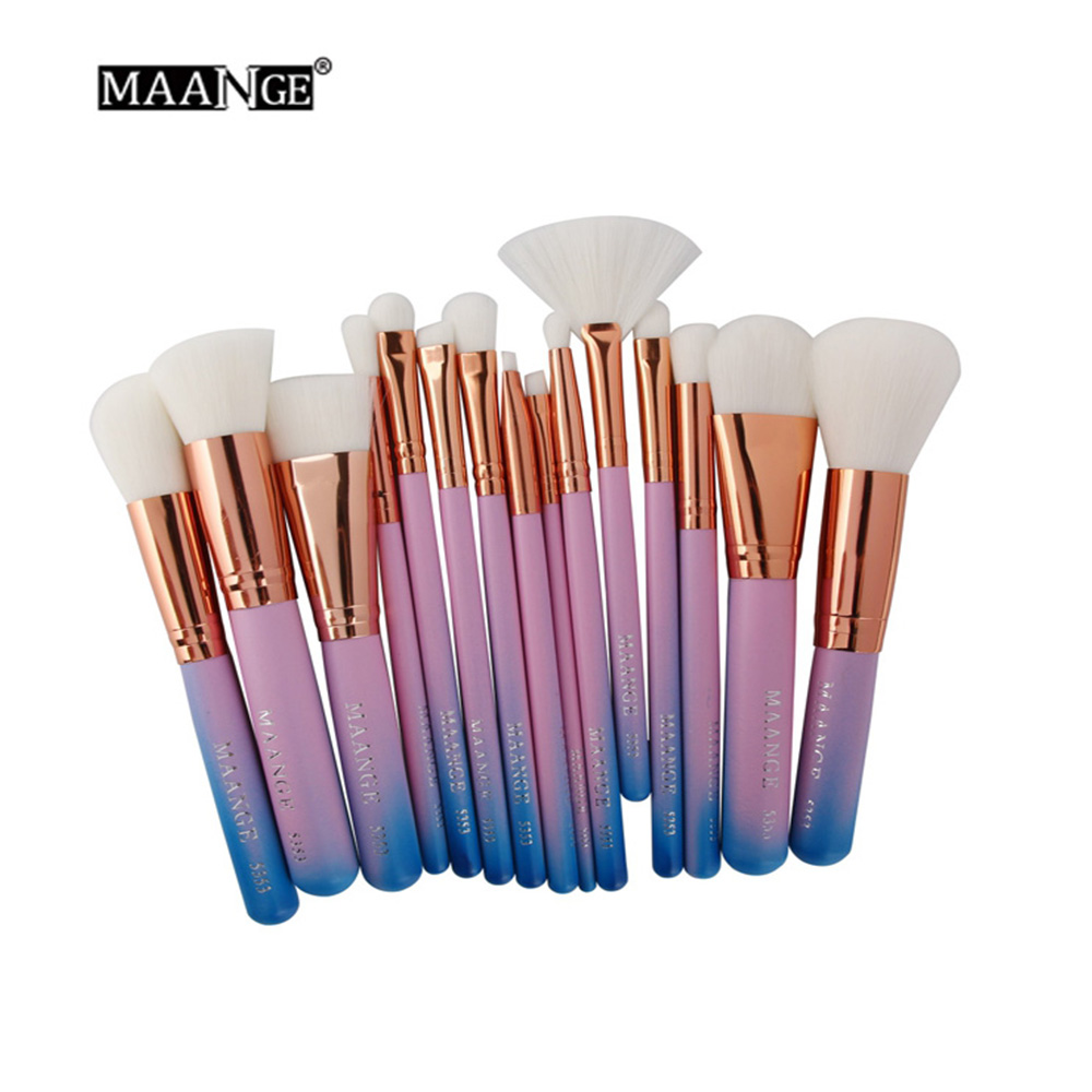 MAANGE 15Pcs Highlighter Makeup Brushes Set Professional Mermaid Color Powder Blush Contour Eyeshadow Fan Brush Makeup