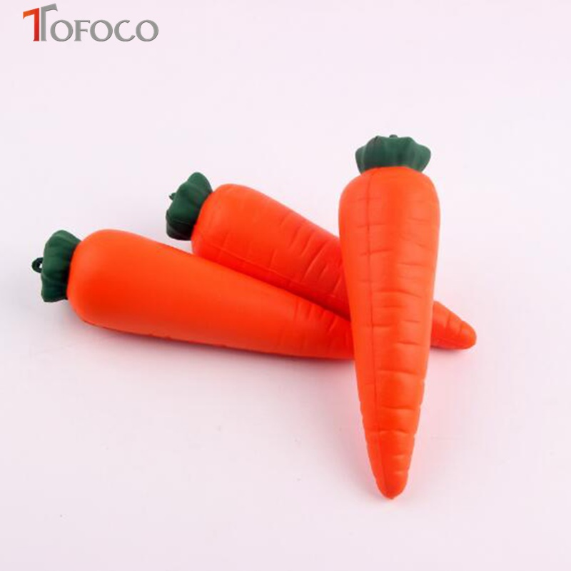 TOFOCO Funny Gadgets Squeeze 14cm Fruit Carrot Slow Rising Stretch Toy Ball Anti Stress Toys Interesting Novelty Shocker Prank