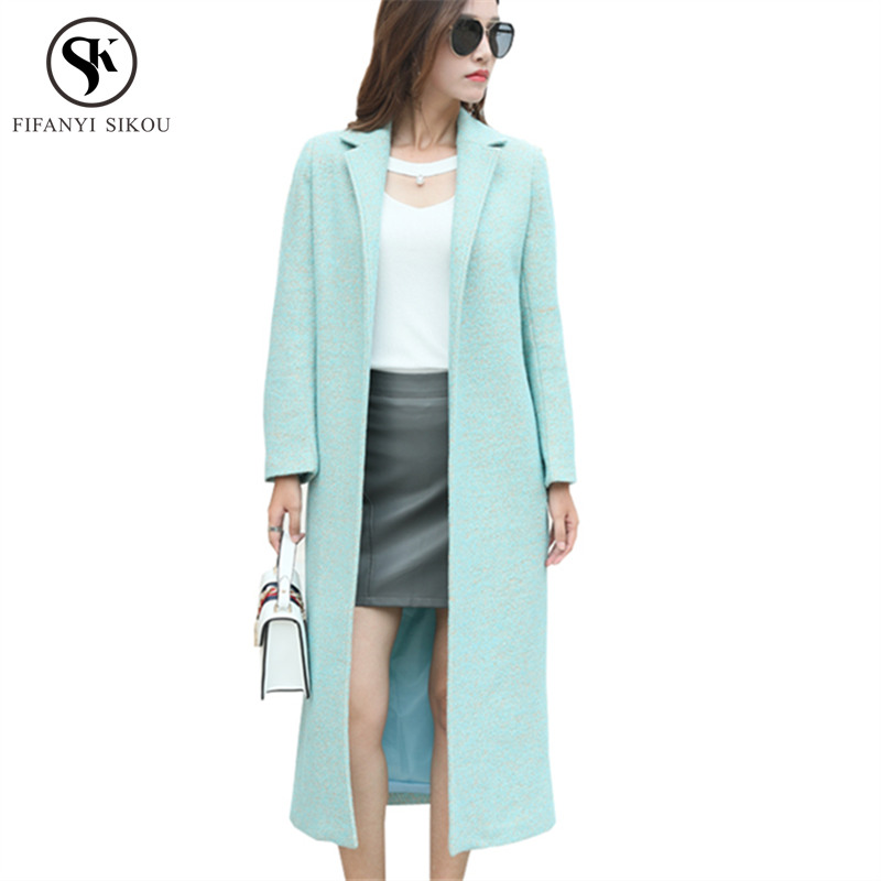Winter coat women Solid color Long Wool coat Thick warm Slim belt Woolen coat Ladies Casual Coats High quality Outwear LP314