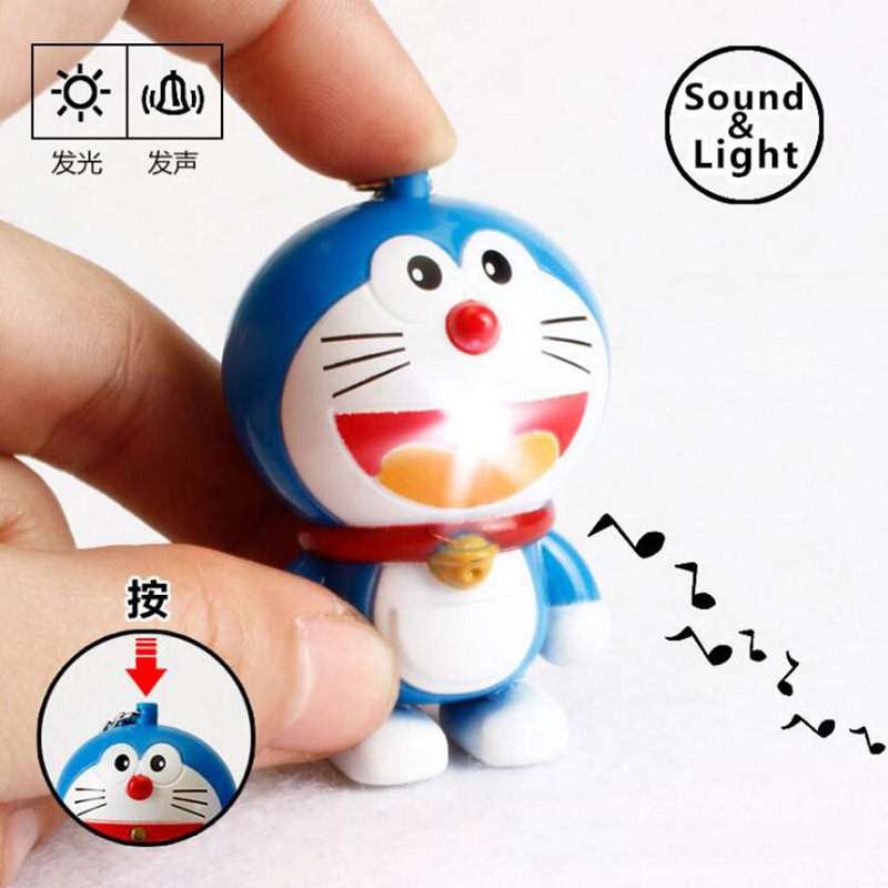 Cartoon Anime Machine cats Key chains Doraemon Figure Keychain Cute Cat Blue Cat Sound And Flashlight LED Keychain Bag charm