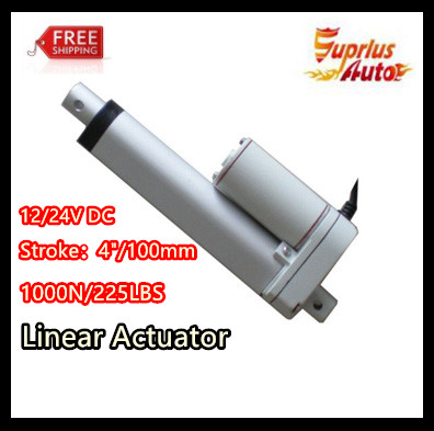 12/24V DC , 4inch/100mm electric Linear Actuator ,1000N/100KGS/225LBS Load Linear Actuator  Free Shipping By express12/24V DC , 4inch/100mm electric Linear Actuator ,1000N/100KGS/225LBS Load Linear Actuator  Free Shipping By express