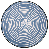 Cozy Thicken Abstract Geometric Blue Stripe Round Carpet and Rug Machine Wash Non slip Rugs Mat for Children/Living Room