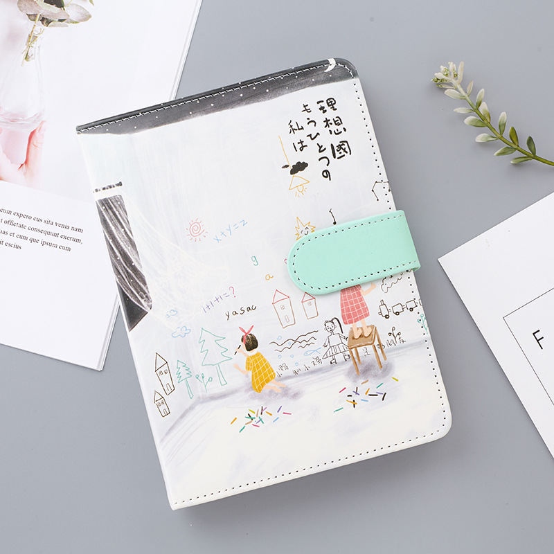 Buckle Leather Hand Book Creative Thickening Small Fresh Color Page Illustration NotebookBuckle Leather Hand Book Creative Thickening Small Fresh Color Page Illustration Notebook