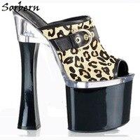 Sorbern Leopard Summer Slippers Platform Clogs For Woman High Heels Designer Brand Custom Made Ladies Slippers Size 10 Fashion