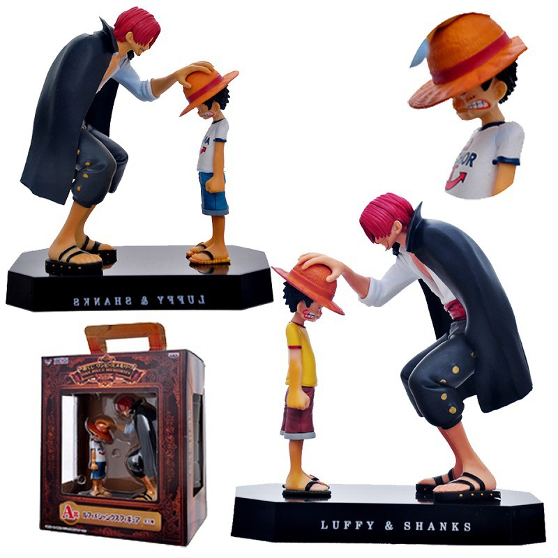 18cm One Piece Action Figures Anime Straw Hat Luffy Shanks Red Hair Ornaments Gift Doll Toys Child Luffy Models Pvc Collection