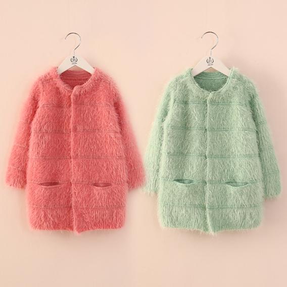 2016 otoño invierno ropa de los niños niñas suéteres sólida sección larga de punto cardigan sweater niña niños prendas de vestir exteriores tops