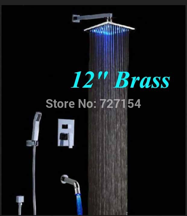 Wall Mounted 12LED Brass Rainfall Shower Faucet LED Tub Mixer Tap Single Handle
