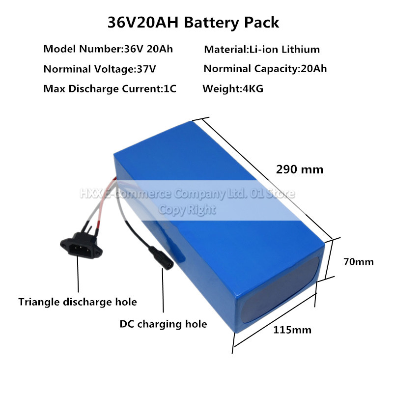 Li-ion Lithium Battery Pack 36V20Ah for Electric Bike Wheelchair Kid Car Energy 740W Long Life Deep Cycle Safety Hot Sales 12 6v8a 12 6v 8a intelligence lithium li ion battery charger for 3series 12v lithium polymer battery pack good quality