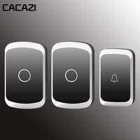 CACAZI Wireless Doorbell Waterproof Led Light AC 110 220V Wifi Door Bell House Button 36 Melody 4 Volume Cordless Home Ring