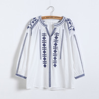 2017 Spring Summer Vintage Ethnic Embroidered Blouse Fashion V Neck Long Sleeve White Women Tops Y11