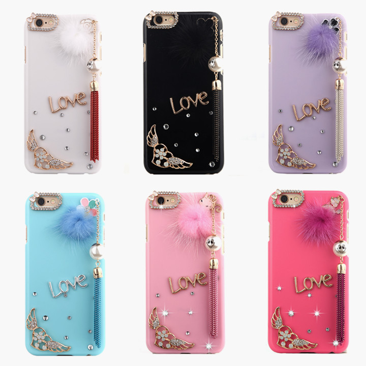 online retailer 95f99 70234 US $7.99 |Plastic+crystal diamond DIY Rabbit hair pendant ball bling mobile  phone cover For samsung galaxy note 3 n9000 rhinestone case on ...