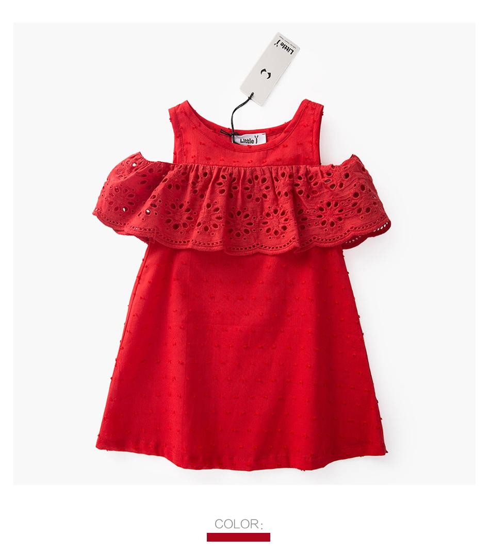 HTB1asveSpXXXXclXXXXq6xXFXXXx - Little J 100% Cotton Girls Red Off Shoulder Dress Toddler Hollow Lace Dresses Cute Casual Children Summer Dress Kids Clothes