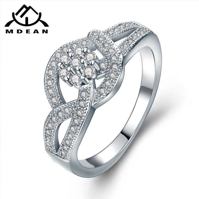 2be729e27 MDEAN الأبيض الذهب اللون زهرة شكل AAA الزركون خواتم للنساء الزفاف جديد  الأزياء العصرية مجوهرات باجي حجم 6 7 8 MSR861