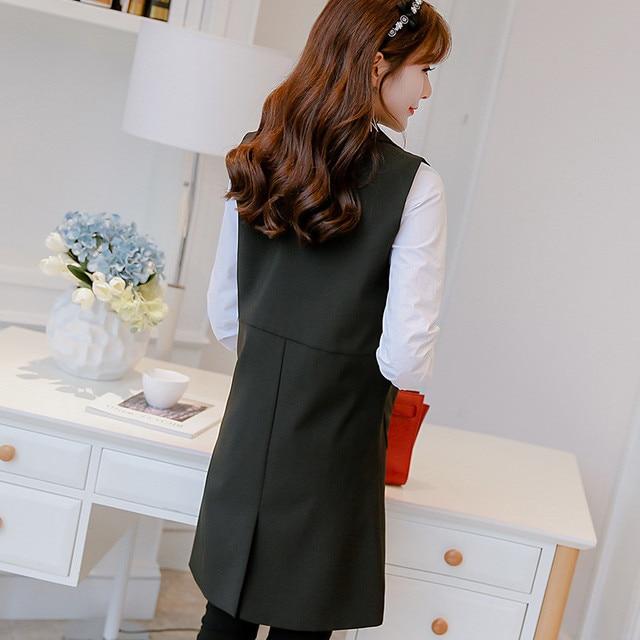 Hiawatha 2018 Spring Autumn Sleeveless Jacket And Blazer Korean Long Vest Coat Fashion Pockets Suit BL016 3