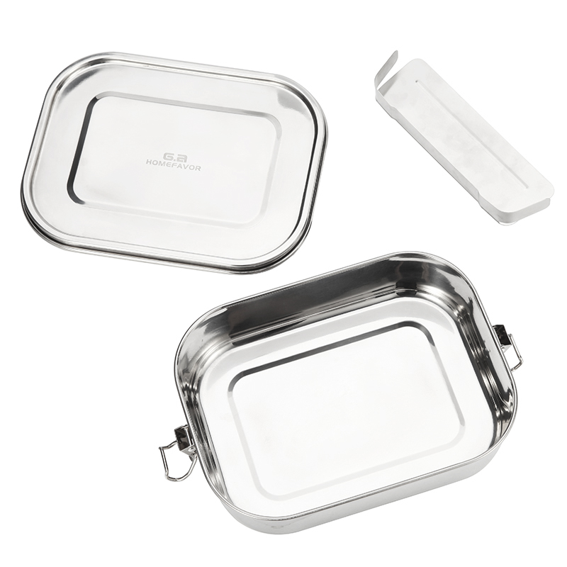 G a HOMEFAVOR 304 Top Grade Stainless Steel Lunch Box Adjustable Compartments Container Silicone Sealing Bento Accessories in Lunch Boxes from Home Garden