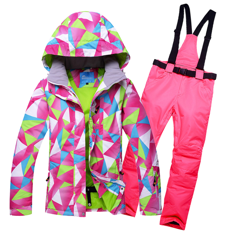 2017 New Womens snow suit Thermal Padded Cotton Ski Jackets and Bib Trousers set Winter Skating Hiking Camping Skiing Clothing2017 New Womens snow suit Thermal Padded Cotton Ski Jackets and Bib Trousers set Winter Skating Hiking Camping Skiing Clothing