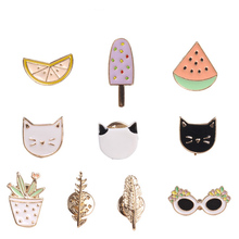 2017 Cute Oil Drop Cartoon Green Fruit Cat Sunglass Leaf Ice Cream Watermelon Metal Brooch Pins Clothes Decoration Jewelry Women