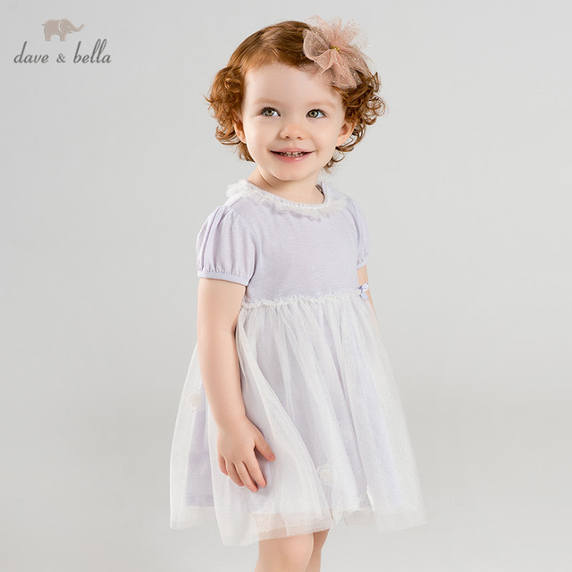4b8f007eb8aa1 US $26.42 49% OFF DBQ9638 dave bella summer baby girl's princess dress cute  floral lace solid children party dress kids infant lolita clothes-in ...