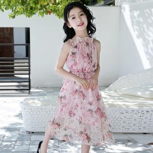 Image 2 - Letnia dziewczęca sukienka na ramiączkach na ramiączkach sukienki na plażę czeska sukieneczka dla dzieci Floral nastoletnie dziewczyny letnie ubrania 6 8 10 12 14 rok