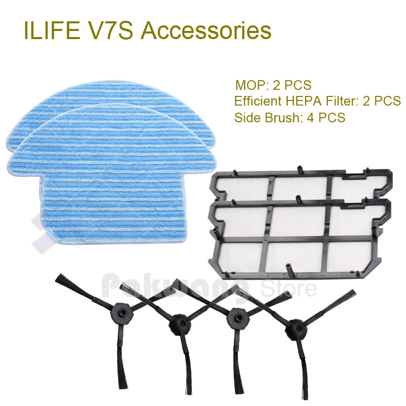 Original ILIFE V7S Mop 2 pcs Efficient HEPA Filter 2 pcs and Side Brush 4 pcs ILIFE V7S Robot Vacuum Cleaner Spare Parts original ilife v7 primary filter 1 pc and efficient hepa filter 1 pc of robot vacuum cleaner parts from factory