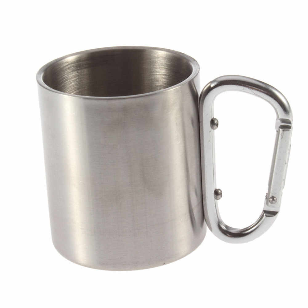 Outdoor Camping Cup 220ML Stainless Steel Camping Cup Outdoor Camp Camping Cup Carabiner Hook Double Wall HY Cup D402